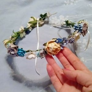 paper flower crown | yellows, blue, white, gray